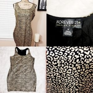 Like New gold animal print pattern stretch dress